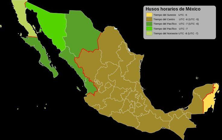 Husos horarios de México.