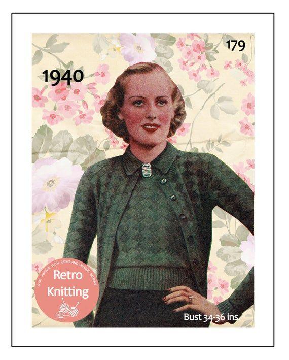 1940/'s Angora Stripes Sweater Knitting Pattern in 3 sizes