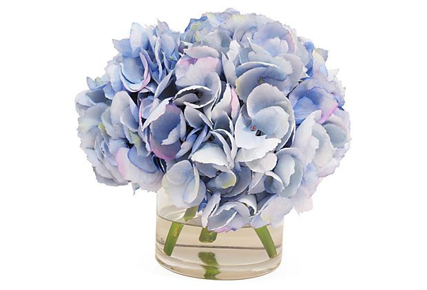 9 Quot Hydrangea In Glass Vase Blue On Onekingslane Com