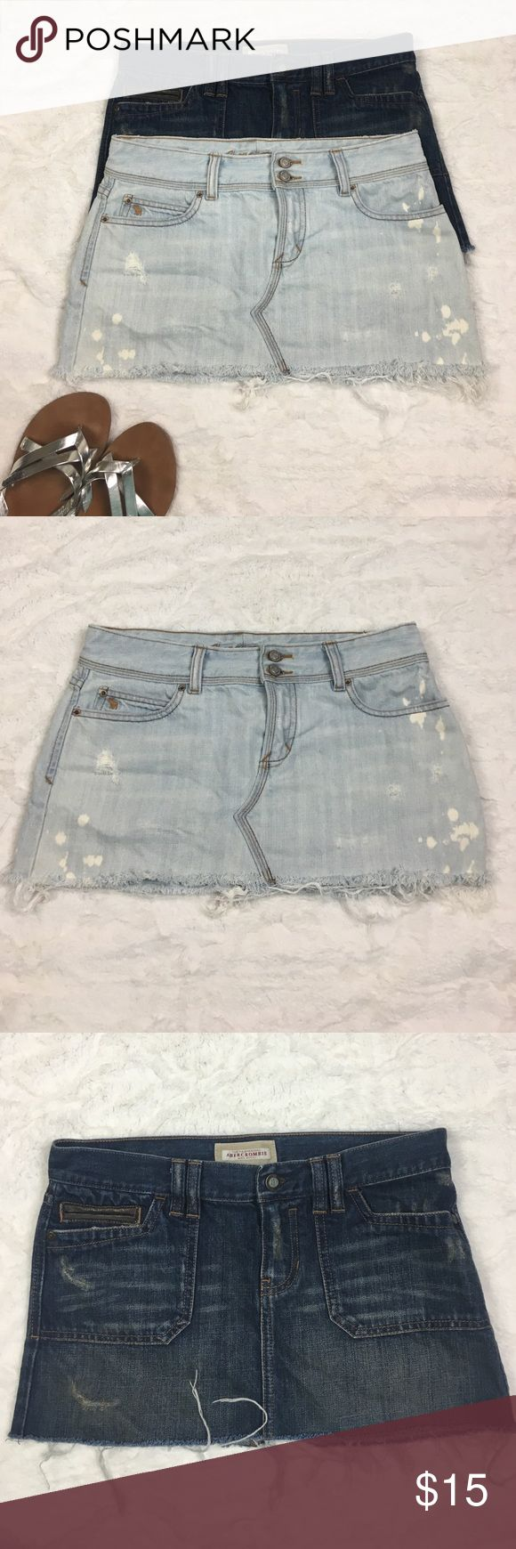 "Abercrombie and Fitch 🦌 Jean Skirts SOLD AS PAIR! Abercrombie and Fitch 🦌 Chic Jean Mini Skirts❤ SOLD AS A PAIR😍 AWSOME DEAL💕 Gently used , no flaws✨ See photos for exact detail! Measurements are the same on both skirts! Waist-15"" Length-12"" Abercrombie & Fitch Skirts Mini"