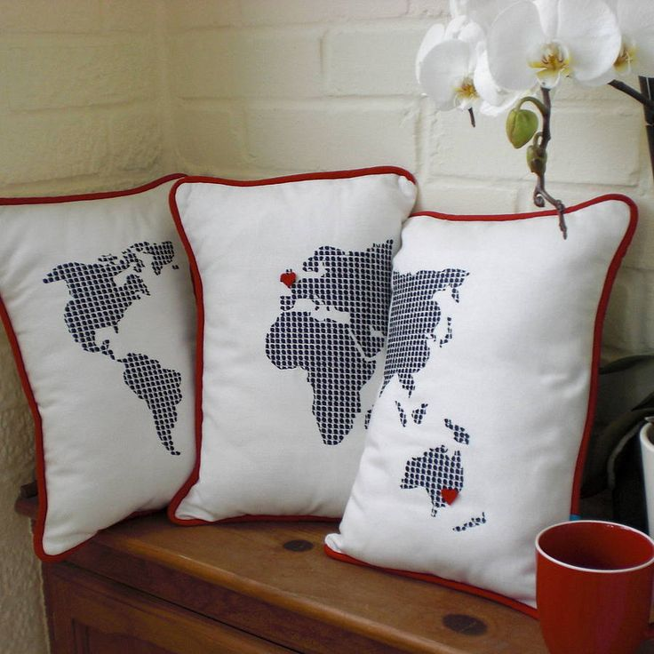 38 best maps images on pinterest travel world map art and world set of three embroidered world map cushions gumiabroncs Choice Image