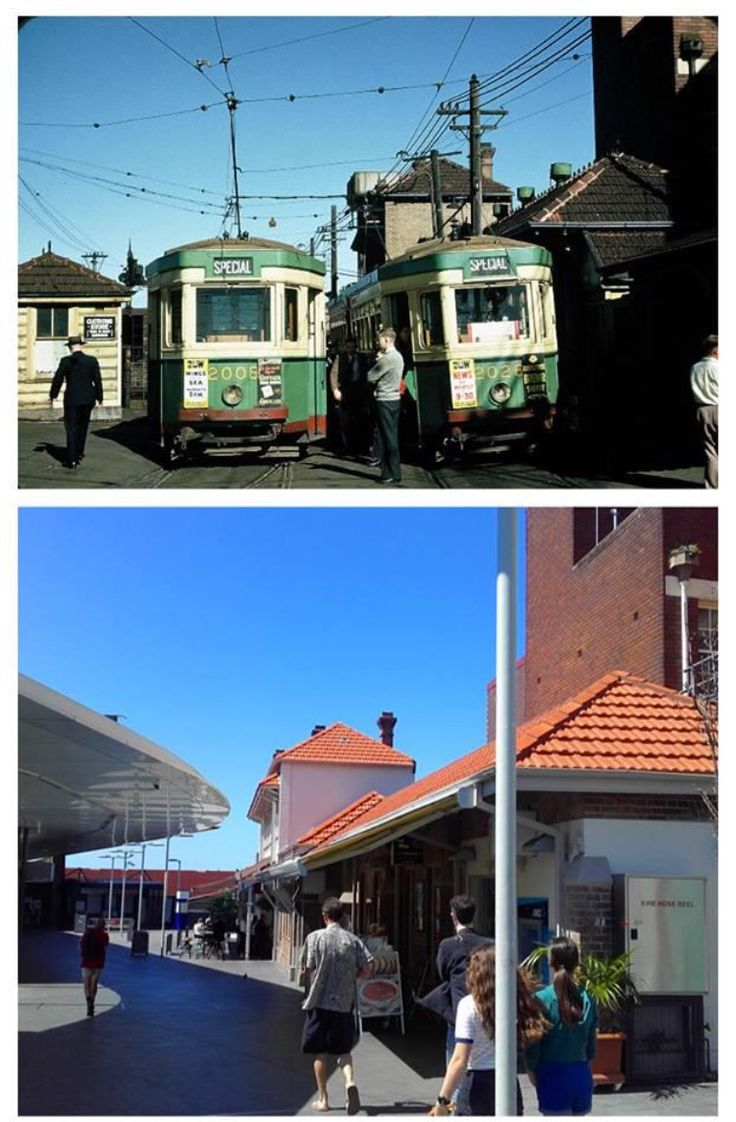 Newtown Station near the tram shed 1954 and 2015. [N. Reed>Stephen Thomas. By Stephen Thomas]