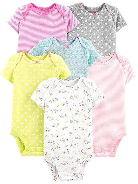 c02f47f1e Amazon.com: Simple Joys by Carter's Baby Girls' 6-Pack Short-Sleeve ...