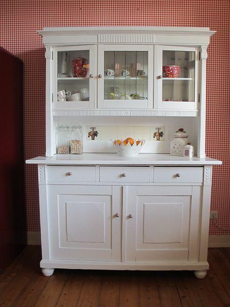 Jugendstil Küchenbuffet Buffetschrank in Weiß