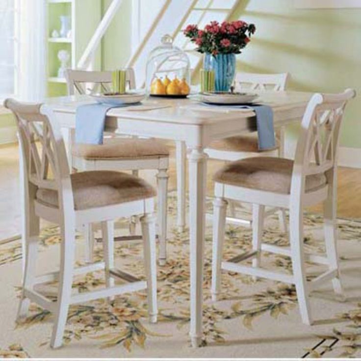 American Drew Camden White 5 pc. Counter Height Table Set - Friends and family will love to gather around the American Drew Camden White 5 pc. Counter Height Table Set . This beautiful set is crafted from hardwood...