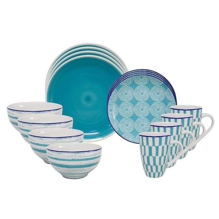 Turquoise Euro Ceramica Simpatico 16 Piece Dinnerware Set Chic & Cheeky Patterns #EuroCeramica