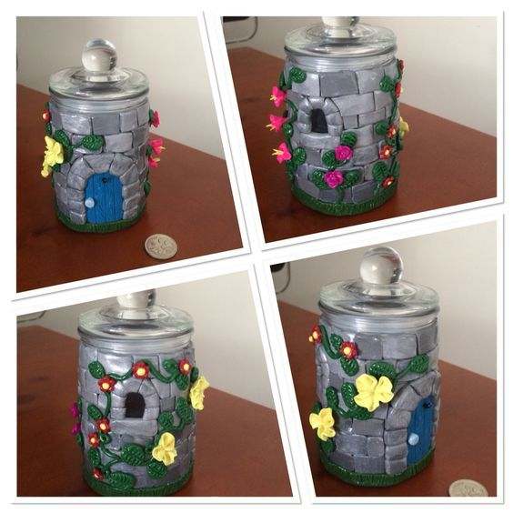 Polymer clay, Castle with flowers, small glass jar