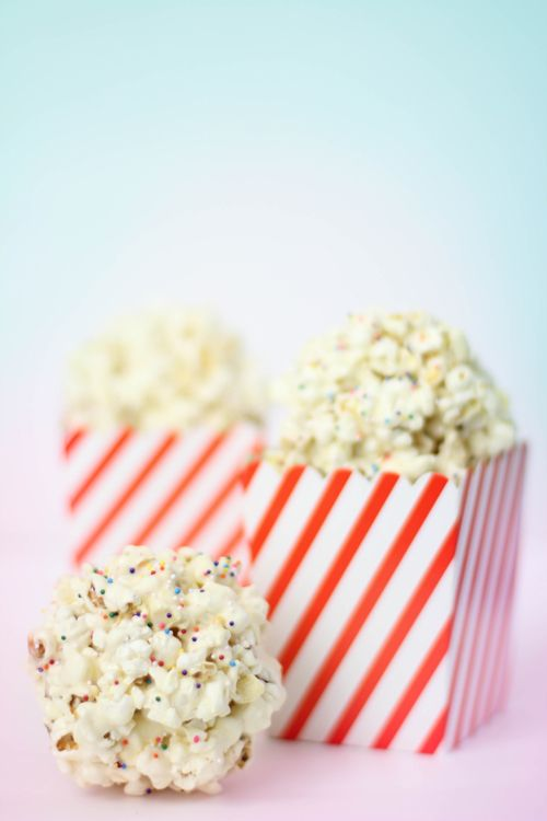 marshmallow popcorn balls - Instead of sticky boiled corn syrup, these are held together with a mixture of melted marshmallows and butter. They are more like a rice crispy treat but made with salty popcorn instead of cereal.