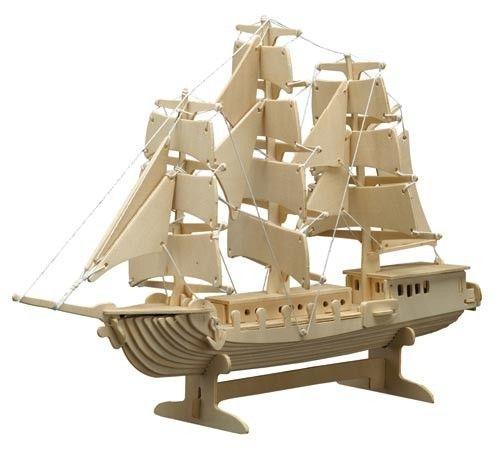 Dieses 3D Segelschiff fördert die motorischen, kreativen und die geistigen Fähigkeiten Ihrer Kinder zu Hause. Alle 80 Teile sind bereits fertig ausgestanzt und müssen nur in der richtigen Nummernreihenfolge zusammengesteckt werden. Das 3D-Modell kann entweder wieder zerlegt oder mit Farbe und Leim fest aufgestellt werden. Größe: ca. 420 x 160 x 300 mm. (LxBxH) Achtung: Nicht für Kinder unter 3 Jahren geeignet.  Jedes Set enthält eine leicht verständliche Bauanleitung.