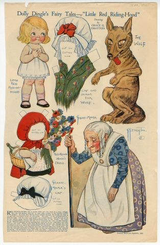 """Dolly Dingle's Fairy Tales-""""Little Red Riding Hood  paper doll  1921  Artist:  Grace G. Drayton"""