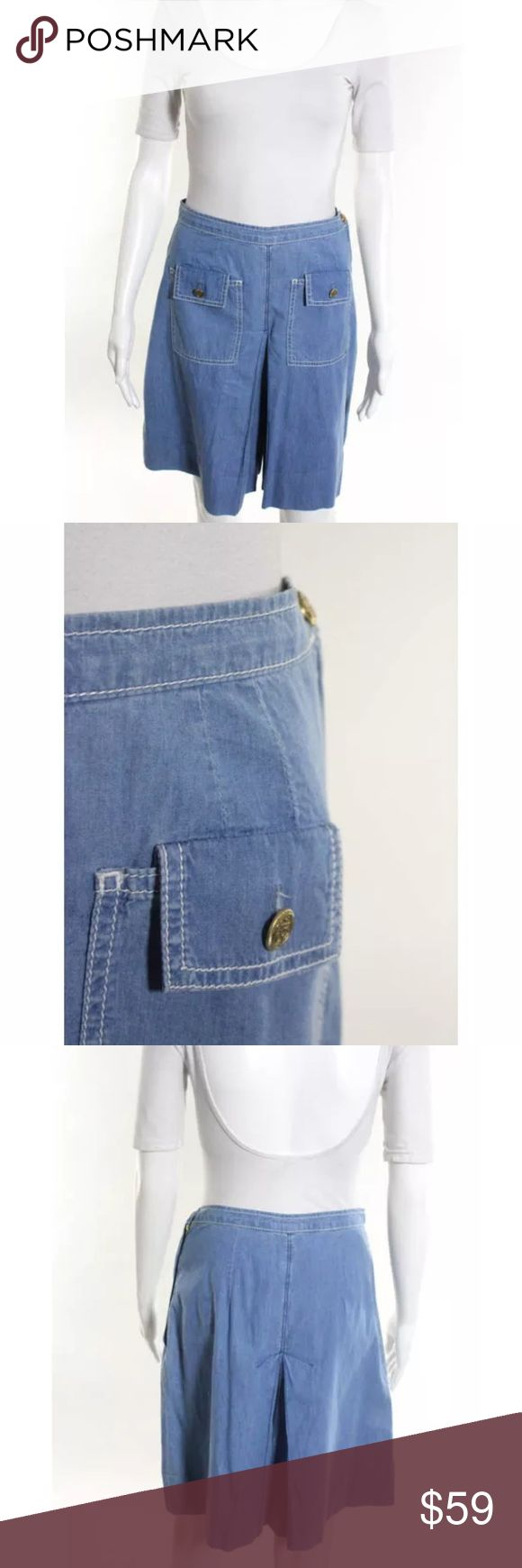 Whistles gaucho shorts Sz 6 blue Blue chambray denim gaucho shorts Whistles Shorts Bermudas