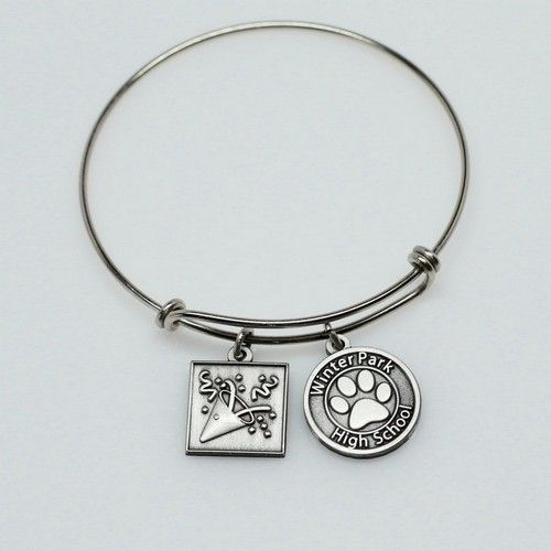 Super Popular Charm Bracelets Custom for your Group to sell as a Pre-Sell Fundraiser from http://www.schoolspiritstore.com/new-cheer-and-booster-fundraiser-adjustable-custom-charm-bracelets/