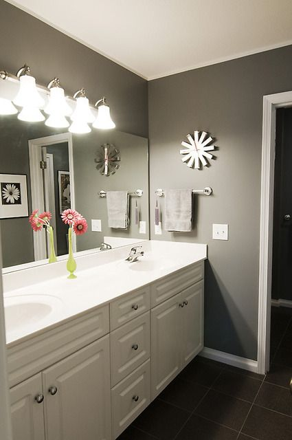 1000 ideas about grey bathroom cabinets on pinterest - What color to paint bathroom walls ...