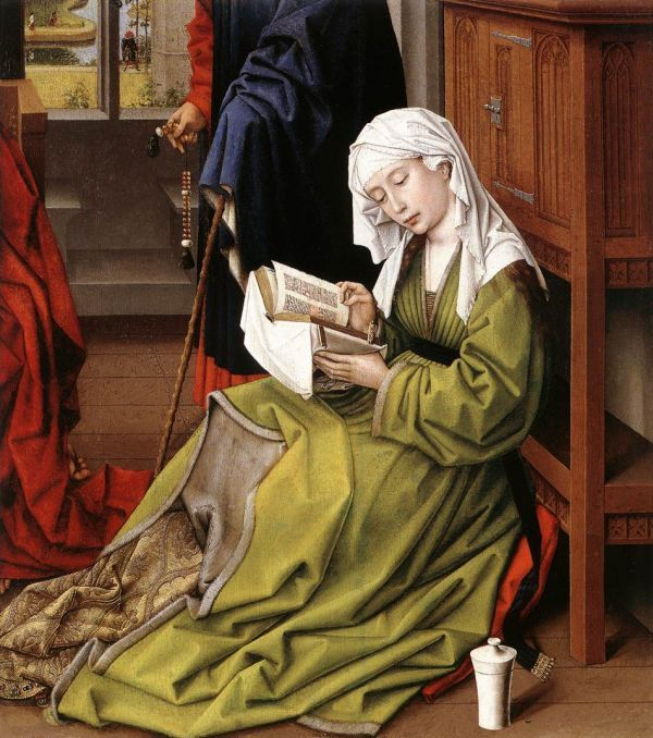 Rogier van der Weyden (1399/1400-1464), Dutch/Netherlandish / The Magdalen Reading, oil on mahogany, before 1438 ... depicts BIblical Mary Magdalen reading, fragment cut from a larger painting, evidently an altarpiece of the Virgin and Child with Saints / National gallery, London, UK