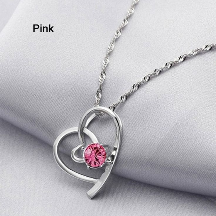 Bijoux pour filles- Pendentif Coeur en Argent plaqué Classique et Pierre en Cristal #rose #coeur