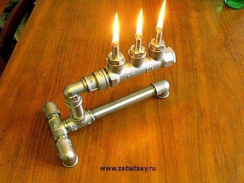 Масляная лампа из труб. (Pipe Oil Lamp DIY)