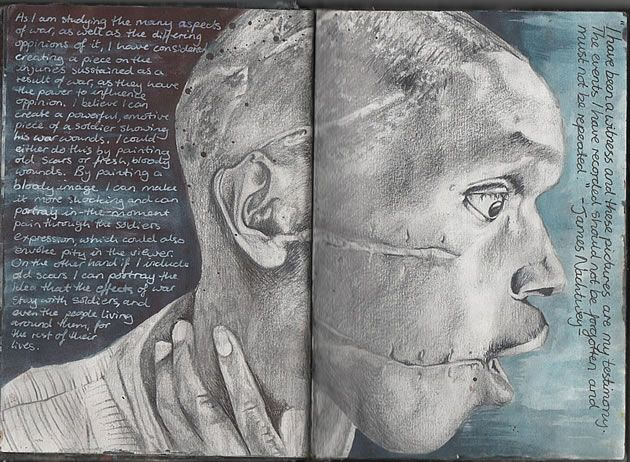 Ruth Beeley: St George's School, Hertfordshire England 2011. Sketchbook page for A Level Art Coursework final artwork, exploring the theme of war. A study of the work of war photographer James Nachtwey.