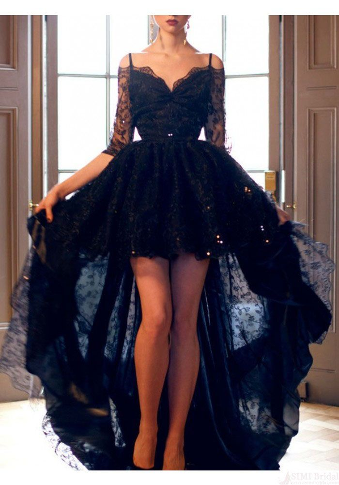 A-line Spaghetti Straps Lace High-low Black Prom Dress/Evening/Homecoming With Half Sleeves