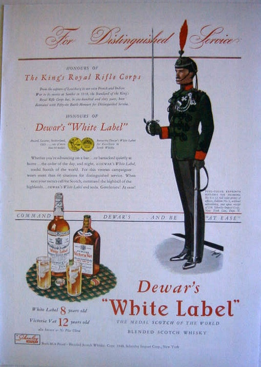 1940 Dewar's White Label Scotch Whiskey King's Royal Rifle Corps Print Ad | eBay