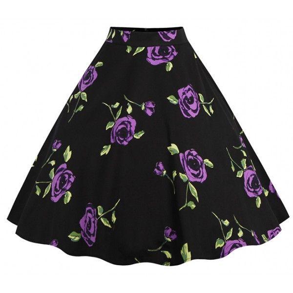Falda negra con estampado de rosas violetas