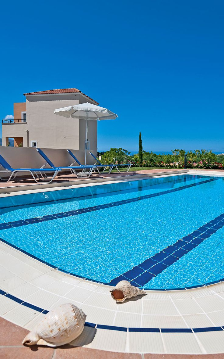 Selini Villas in Kolymbari, Chania, Crete A group of 3-bedroom villas with a private pool.