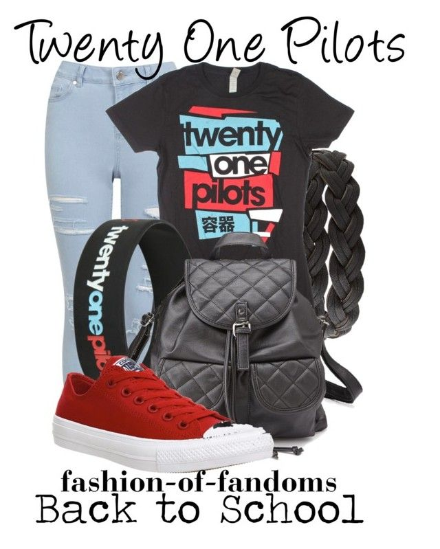 """""""Twenty One Pilots"""" by fofandoms ❤ liked on Polyvore featuring Charlotte Russe, Miss Selfridge, Converse, women's clothing, women, female, woman, misses and juniors"""
