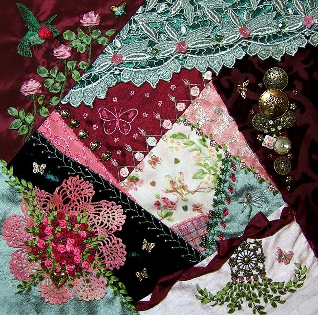I ❤ crazy quilting, beading & ribbon embroidery . . . Spring Challenge Gallery Winner! Melissa Anaya's Block-  What a beautiful CQ Block! Melissa is quite an accomplished needleworker! I hope you will join me in congratulating her on her beautiful work,
