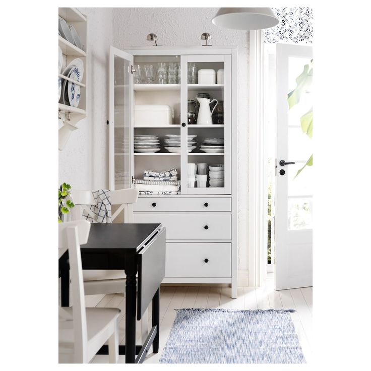 IKEA HEMNES White Stain Glass-door cabinet with 3 drawers
