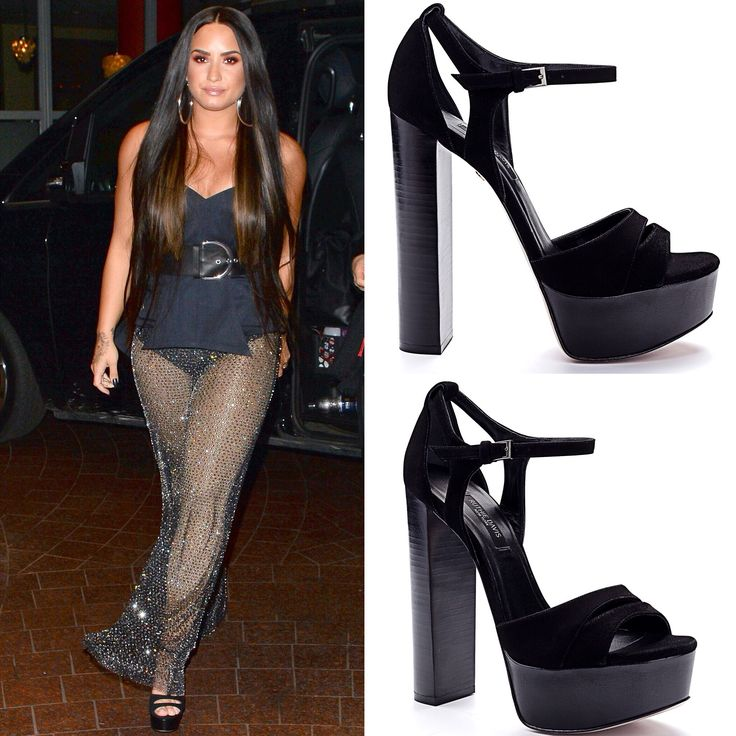 "Golden Goddess #DemiLovato in London in @ruthie_davis ""Vanessa"" platforms."