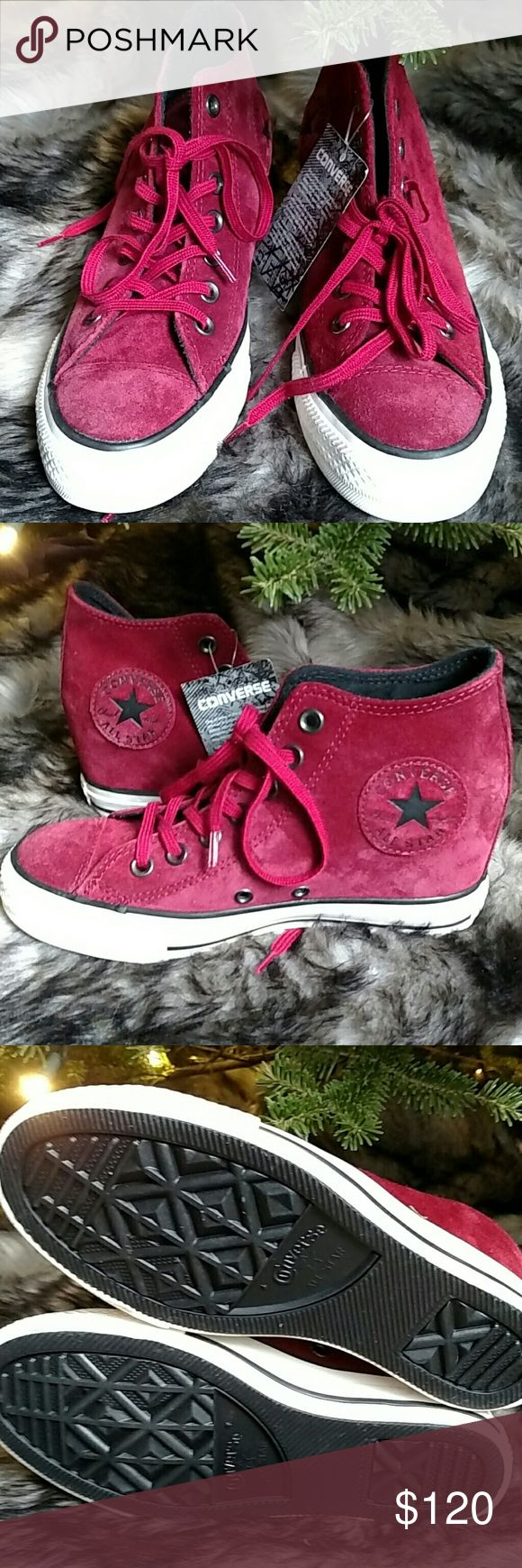 Nwt Converse Wedge Sneakers Beautiful red suede Converse hidden wedge sneakers. Never worn! Converse Shoes Sneakers
