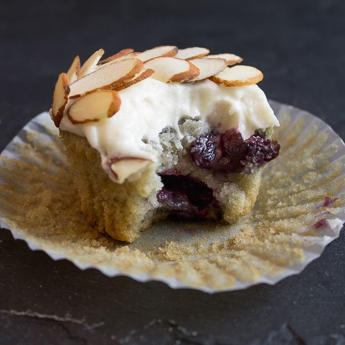 Cherry Almond Cupcakes with Cream Cheese Frosting