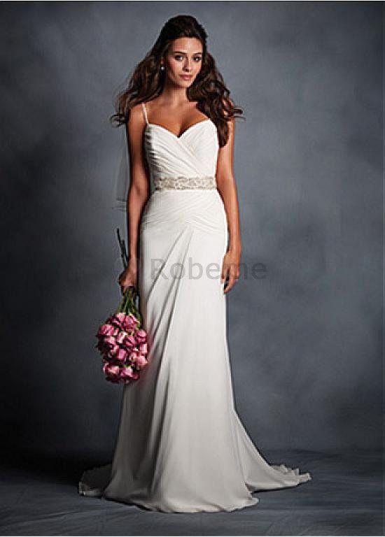 Robe de mariée fourreau perle avec manche bretelles spaghetti elegante