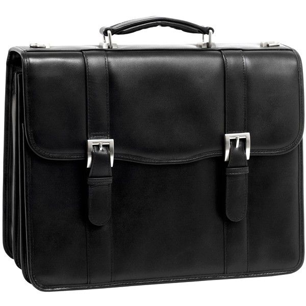 McKlein Flournoy Double-compartment Leather Laptop Briefcase ($140) ❤ liked on Polyvore featuring bags, briefcases and black