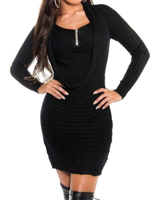 Mini jurk met strass glitters drapering zwart Koucla  Dames mini jurkje zwart met strass glitters en drapering in een One size maat (XS / L) van Koucla