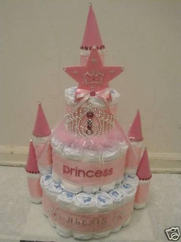 personalized princess castle diaper cake