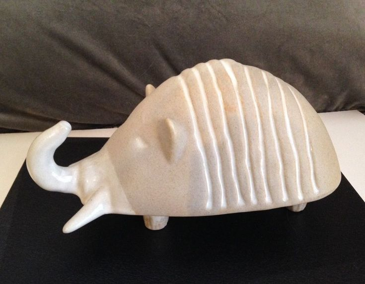 Vintage Bennington Pottery Bank Armadillo White Glaze Perfect David Gil #MidCenturyModern