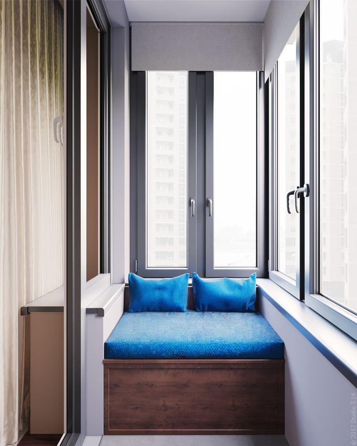 Зона отдыха на утепленном балконе при спальне. Дополнительное место хранения под оттоманкой.