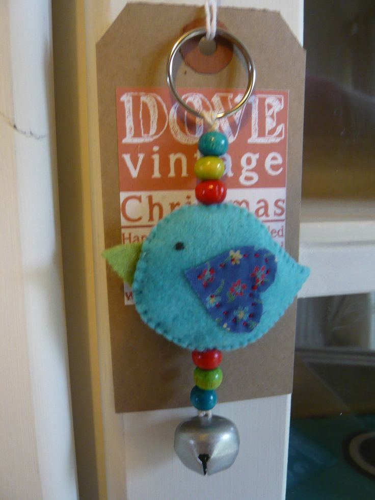 Hand Sewn Birdie Bag Charm/Christmas Tree Decoration