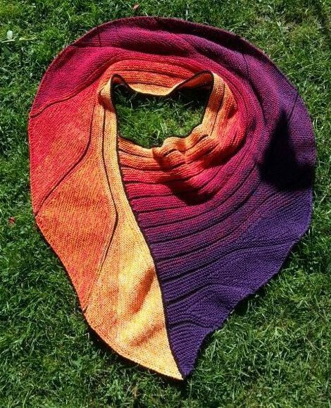 A very nice combination of short row design and color shifting yarn. Lovely!