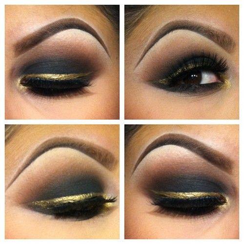 Love that gold liner :) However a bit too dark even for evening :): Natural Makeup, Eye Makeup, Makeup Ideas, Black Gold, Makeup Looks, Gold Eyeliner, Drag Queen, Eyemakeup, Eye Art