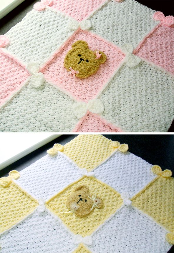 Knitting Pattern For Bears And Bows Baby Blanket This 9 Square