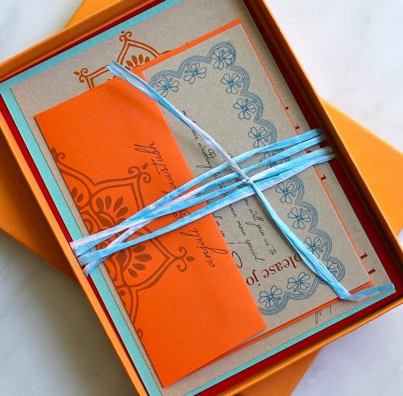 Henna Love - Modern Indian Wedding Invitations, Orange, Aqua & Red