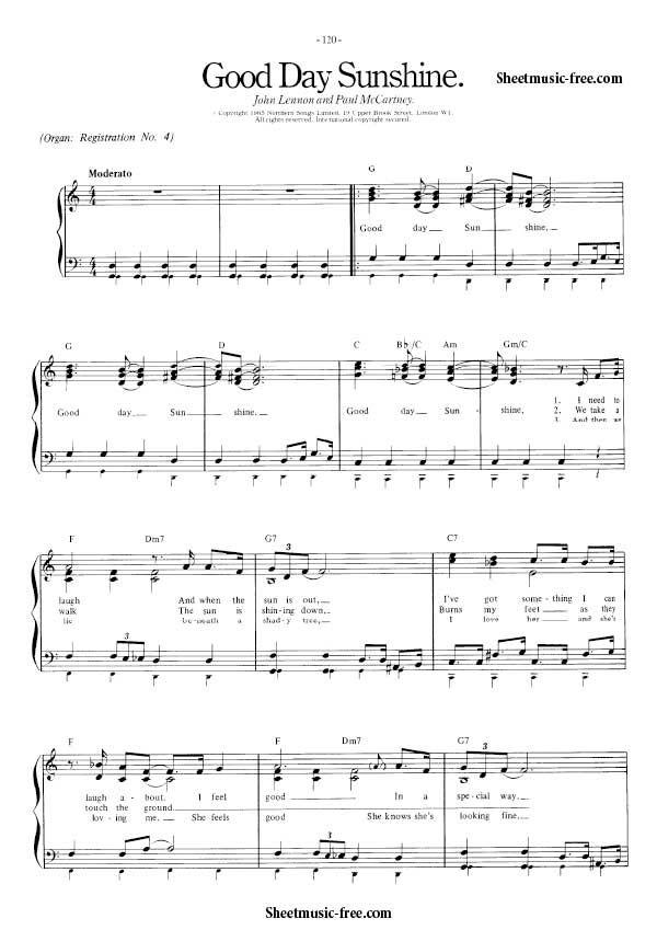 Good Day Sunshine Sheet Music Beatles | Musical instruments