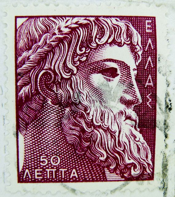 Zeus Greek mythology old greek stamp