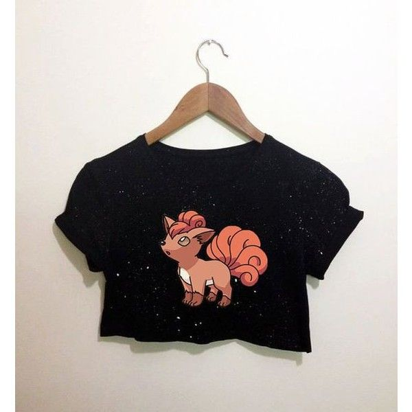 Vulpix Fox Pokemon Inspired Black Crop Top T Shirt Festival Emo... ❤ liked on Polyvore featuring tops, crop top and hipster tops