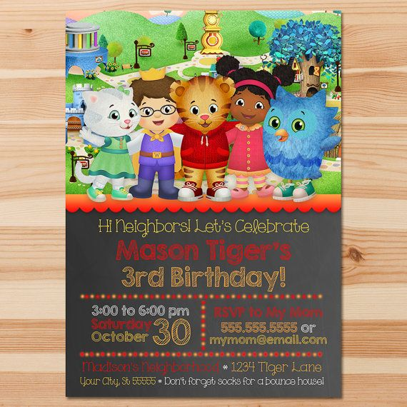 Printable Personalized Daniel Tiger Invitation Red & Orange  This adorable Personalized Daniel Tiger Invitation is the perfect way to invite guests to your little ones birthday party!  ============================== Whats Included In the Listing? ================...