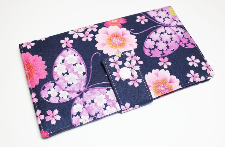porte-cartes 12 emplacements distincts format porte-chéquier en tissu japonais