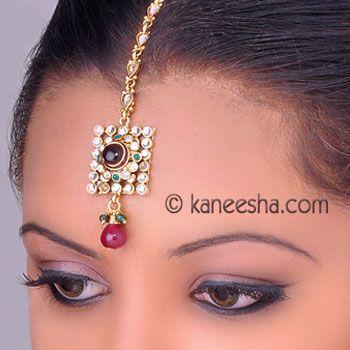 Gold Plated Kundan Headpiece Tikka