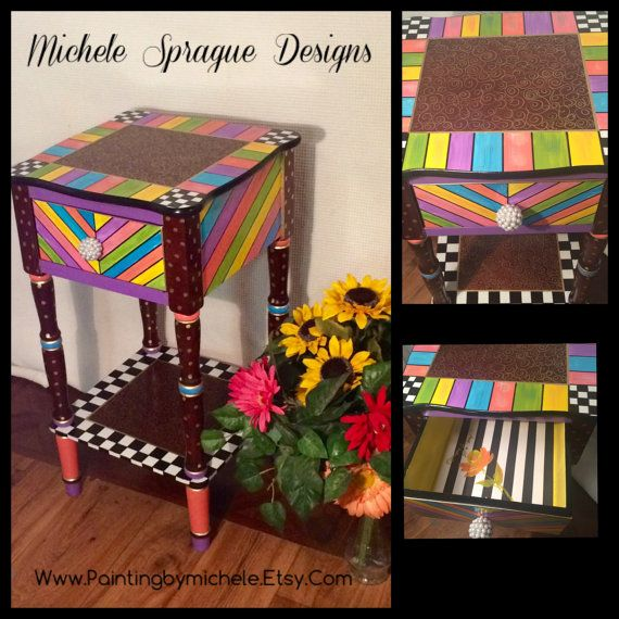 Whimsical painted table // painted accent table // side table with drawer