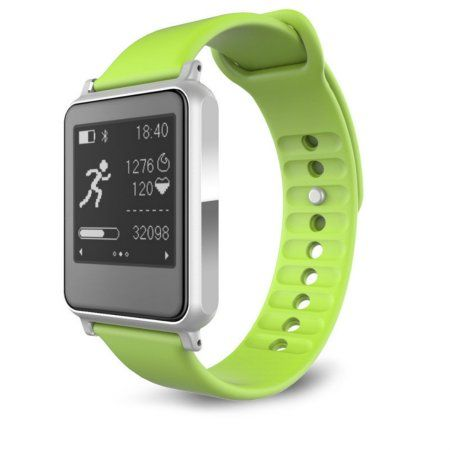 TechComm i7 Smartwatch with Bluetooth, E-Ink Screen, Heart Rate Monitor, Activity-specific Fitness Tracker, Sleep Monitor, Pedometer and Sedentary Reminder - Green